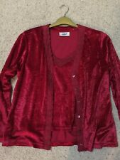 Ladies Two Piece Red Camisole And Cardigan Set Size 14