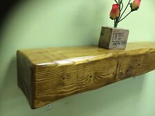 Fire Place Rustic Solid Wood Heavy Shelf Shelves Mantel Thick Beam Vintage Oak