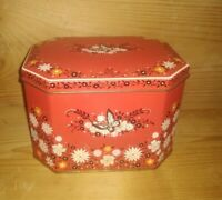 Vintage Daher Collectible Red Tin With Butterflies