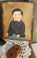 Primitive Colonial Children Child Portrait Mini Canvas Print Cupboard Tuck 4x6