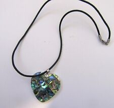 Fashion Necklace & Pendant- HEART inlaid abalone shell-  black cord chain