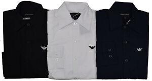 EMPORIO ARMANI Slim Fit Poplin Long Sleeve Shirts - Classic Collar EA Shirts