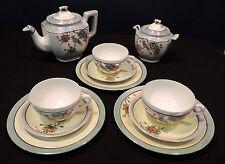 HP Japanese tea set pot sugar Set of 3 c/s & dessert green bird flowers blue trm