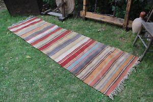 "Vintage Handmade Striped Turkish Oushak Kilim Runner Rug 9'4""x2'10"""