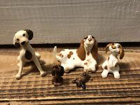 Lot 5 Hagen Renaker Ceramic Puppy Dog Figurines Basset Hound Spotted Brown