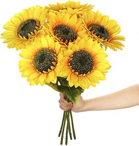 Paras Artificial Silk Sunflowers 6 Pcs Long Stem Fake Sunflowers Bouquet Large S