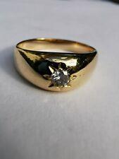14ct yellow gold diamond set signet ring size P 1/2