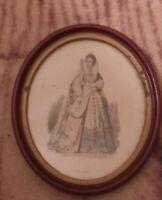 """Vintage Gesso Framed Photo Wood Oval Elizabeth under glass 8"""" x 6.5"""""""