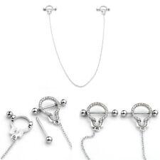 14g CZ Surgical Steel Handcuff Dangle Chain Nipple Ring Bar Barbell Piercing US