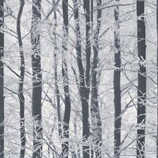 Arthouse Frosted Wood White Silver Wallpaper 670200 - Glitter Birch Tree Branch