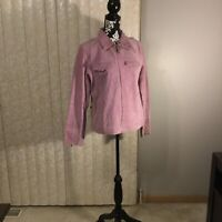 Womens Denim & Co Pink Suede Leather Jacket Size Medium
