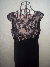Connected Apparel Women's Full Length Black/ Pink With Black Lace Dress 14P