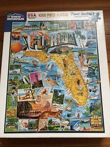 White Mountain Puzzle  **FLORIDA** Map 1000 Large Pieces James Mellett USA 24X30