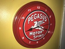 Pegasus Oil Gas Service Station Advertising Man Cave Red Wall Clock Sign