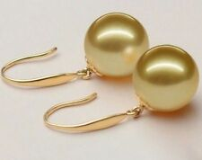 ROUND 9mm natural Australian south sea golden pearl earrings 14k gold