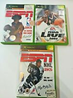 XBOX Sports Game Lot of 3 ESPN NBA 2K5, NBA LIVE 2002, ESPN NHL 2K5 FREE SHIPPIN