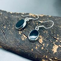 Small Mexican 925 Sterling Silver Hooks Earrings Oval Black Onyx From Taxco -NEW