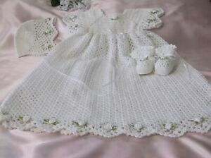 Hand Crocheted Christening/Blessing Gown Set - 3-6 Months