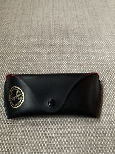 Ray Ban Black Leather Sunglass Sunglasses Case Red Interior Used Popper Button
