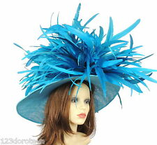 Dark Turquoise Large Ascot Hat for Weddings, Ascot, Derby in many colors