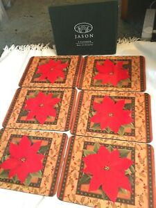 "Jason Poinsettia Christmas 6 x Placemats Cork Backed Boxed 8"" x 11"""