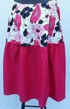 "Modest Full Long Flare Skirt- 39""-54"" Waist 20W-26W Pink Floral"
