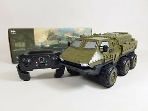 Armored 1/16 6WD RC Army Car Military Truck Off-road Crawler 2.4G Toy Jeep UK