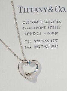 Tiffany & Co Elsa Peretti Sterling Silver Aquamarine Open Heart Chain Necklace