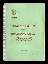 1955 ZUNDAPP 200S CHALLENGER MOTORCYCLE PARTS MANUAL