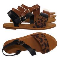 Shoreline13 Flat Open Toe Sandal - Women Adjustable Ankle Strap w Sold & Leopard