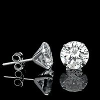 1 CT CREATED DIAMOND MARTINI EARRINGS 14K WHITE GOLD SOLITAIRE LIGHT PRONG STUDS