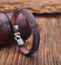 G162 Brown Leather Hemp Braided Surfer Wristband Bracelet Cuff Metal Clasp NEW