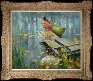 "Hand painted Oil painting original Art Landscape girl River on canvas 20""x24"""