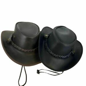 Men's Black/Brown Genuine Leather Cowboy Western Hat Handmade #Braided