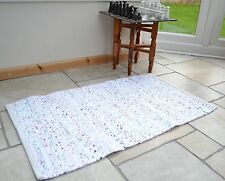 Small White Pastel Chindi Rag Rug Handmade Recycled Cotton 60x90cm 2x3ft Hemmed
