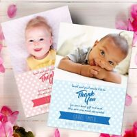 Personalised Christening PHOTO Thank You Cards ~ Baby Boy & Girl Gift Gifts