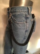Handcrafted 850 Black Reflective USA 3 Pin Weave Paracord Biker Wallet Chain 1%