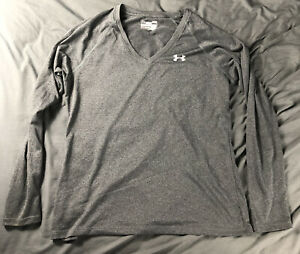 Under Armour Gray Long Sleeve Mens V Neck Shirt Size Large L Semi Fitted