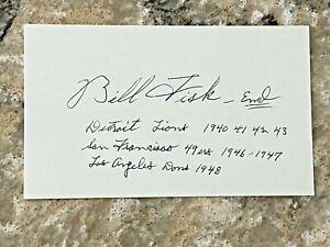 Bill Fisk signed 1940's Detroit Lions Index Card JSA d. 2007