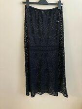 New Free People Intimately Midi Lace Slip Skirt, Black, Large, RRP $68
