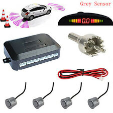 Car Reverse Backup Radar Detection LED Display 4 Reverse Parking Grey Sensor Kit