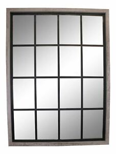 Larger Grey Window Style Wall Mirror 60x80cm Home Decor