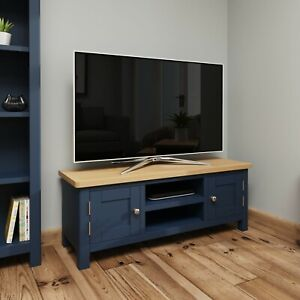 Dovedale Blue Large TV Unit / Painted Oak Media Stand / Wooden Cabinet