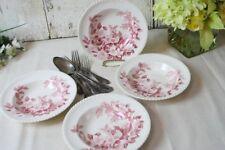 """Windsor Ware Pink Apple Blossom 4 Soup Bowls Johnson Brothers England Vintage 8"""""""