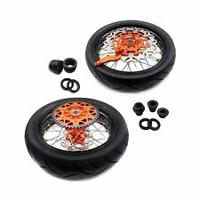 "4.25*17"" KTM CUSH DRIVE SUPERMOTO MOTARD COMPLETE WHEELS SET SX EXC 250 TIRE"
