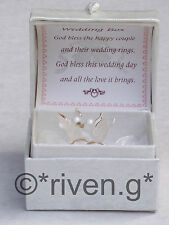 WEDDING BANDS Gift@LOVE DOVES@GOLD RINGS@Glass@Card Verse@UNIQUE BRIDE Keepsake