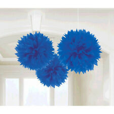 3 Royal Blue Engagement Party Hanging Fluffy Tissue Paper Ball Decorations