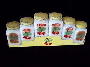 Antique McKee Tipp Spice Jars + Rack White Milk Glass Original USA Cherries 40's