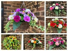 """Ready to hang artificial hanging basket and flowers 10"""" basket 13"""" flower spread"""