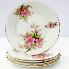 VINTAGE BONE CHINA Floral Pink Flowers Set 5 Tea Plates